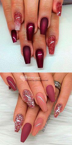 Burgundy coffin nails with glitter ideas . - Burgundy coffin nails with glitter ideas Burgund - Stylish Nails, Trendy Nails, Cute Nails, Classy Nails, Pink Nails, My Nails, Girls Nails, Cute Summer Nail Designs, Pretty Nail Art