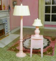 RARE Renwal PINK LAMP SET Vintage Dollhouse Furniture Ideal Miniature Plastic