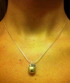 Sterling Silver Apple Charm Necklace by OneSEC on Etsy, $9.00