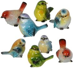 Ten Waterloo Set of 8 Small Birds, Songbird Figurines in Realistic Col - Richards Expo American Flag Bunting, Different Birds, Small Birds, Decorating Small Spaces, Blue Bird, Sculpting, Bookshelf Decorating, Poses, Purple
