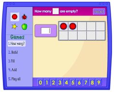 Ten Frame: Thinking about numbers using frames of 10 can be a helpful way to learn basic number facts. The four games that can be played with this applet help to develop counting and addition skills.