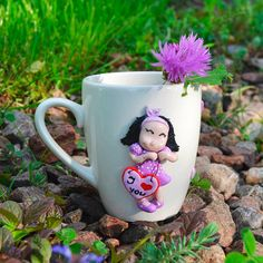 Decorative cup girl in love Personalized polymer clay cup Custom mug Unique design mug Teacup with decor Funny coffee mug Kitchen decor Gift