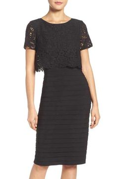 Adrianna Papell Lace Popover Sheath Dress
