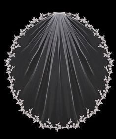Wedding Veil with Delicate Lace Flowers with Silver Accents from Cassandra Lynne