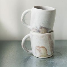 Speck and Stone hand-throne porcelain mugs with bone glaze