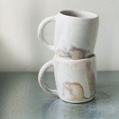 Speck and Stone hand-throne porcelain mugs with bone glaze