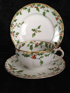 "LIMOGES FRANCE ""HOLLY BERRY"" CHRISTMAS PATTERN TEA CUP & SAUCER+ SNACK PLATE"