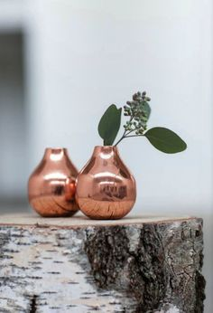 Pear shaped copper vases