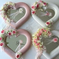 Ideas for pretty heart shape trays or mirrors.