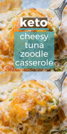 You will love this Keto Tuna Zoodle Casserole packed with zucchini noodles, a creamy cheese sauce and chunks of tuna. This low carb comfort food is only 3.4 net carbs and will become your new favorite! #keto