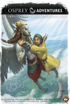 Illustrated by RU-MOR for 'Sinbad the Sailor' book of Osprey Adventures #illustration #fantasy #sinbad #legends #myths #desvanrumor