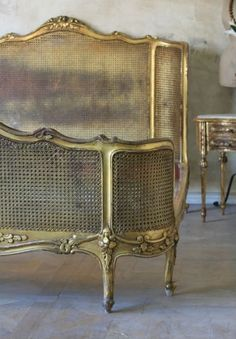 Antique French Cane Bed - headboard & footboard in weathered, painted finish/patina Cane Furniture, French Furniture, Vintage Furniture, Painted Furniture, Furniture Ideas, Loft Furniture, Furniture Assembly, Refurbished Furniture, Plywood Furniture
