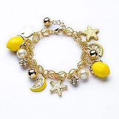 23 centímetros bonito Limão e Estrelas Pingente de ouro 18K Braceletes (Amarelo) (1 Pc) – BRL R$ 54,69