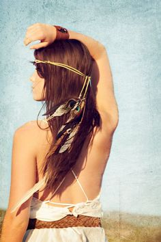 juniper stone... feather headband // free shipping by SpiritTribe, $45.99