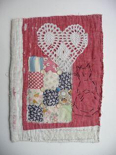 Hand Embroidered Antique Patchwork Quilt by EllenDevallArtwork