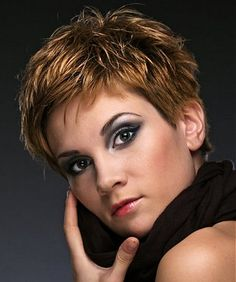 A short brown straight coloured Multi-Tonal choppy hairstyle