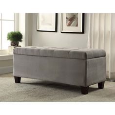 The Linon Carmen Grey Shoe Storage Ottoman is perfect for placing in a large closet, entry or at the foot of a bed. The grey microfiber upholstery allows this piece to easily complement any decor style and color scheme.