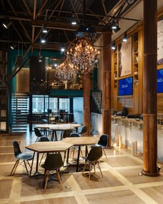 Glamorous loft space design including rust metal columns, concrete surfaces and crystal chandeliers. Multi functional gallery interior with a club mood atmosphere. Color Schemes Design, Lounge Music, Architecture Visualization, Loft Spaces, Behance, Gallery, Interior, Table, Furniture