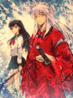 kagome and inuyasha; inuyasha. I like the sketch design and overlay in this pic! :3