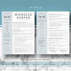 "Creative Resume Template for MS Word: ""Natalie"" - Hired Design Studio Modern Resume Template, Creative Resume Templates, Cv Template, Creative Cv, Resume Cv, Resume Writing, Resume Help, Resume Tips, Cover Letter Template"