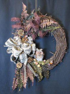 Woodland Wreath, Owl Wreath, Fall Wreath, Fall Colors Wreath