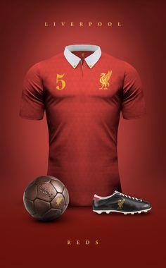 5f1464d909f7d Diseño  Camisetas de Fútbol Vintage.   Manchester United Liverpool  Uniforme