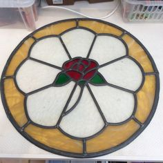 Etsy の Stained glass window with rose by PamGoodisonGlass