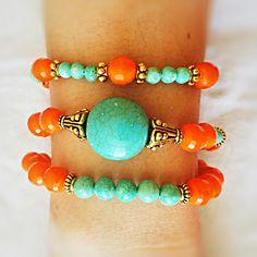Orange rondelle...turquoise...gold beads bracelet