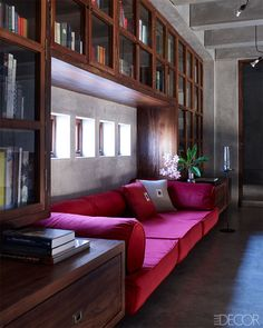 A Modern Retreat In India. Home Library, Puducherry, India designed by architect Niels Schoenfelder (personal weekend home) - ELLE DECOR. Home Office Design, Home Interior Design, House Design, Studio Design, Living Room Interior, Living Room Decor, Living Room Designs India, Living Area, Indian Living Rooms