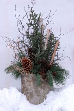 Container Plantings for Wintry Settings - Paper Birch Tips Black Spruce Paper Birch Stems Norway Spruce Cones Norway Pine Sugar Pine Cones Manzanita Branch Manzanita Branch Christmas Urns, Christmas Planters, Outdoor Christmas, Country Christmas, Winter Christmas, Winter Container Gardening, Fine Gardening, Container Plants, Organic Gardening