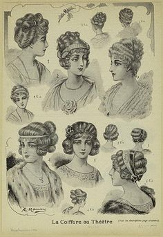 Hair style 1910s, hair-do, hair-dress, coiffure, женские прически 1910-х годов