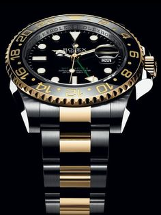 The Rolex GMT-Master II in Rolesor associates steel with 18 ct yellow gold as a combination of strength and elegance. The Rolex GMT-Master II in Rolesor associates steel with 18 ct yellow gold as a combination of strength and elegance. Rolex Watches For Men, Seiko Watches, Luxury Watches For Men, Sport Watches, Cool Watches, Stylish Watches, Dream Watches, Wrist Watches, Rolex Gmt Master