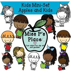 Kids MINI Clipart Set: Apples & Kids [Miss P's Place]  This is a Mini Set that contains 11 total images of kids and apples in a few fun ways! You will get 3 black and white images of kids next to or holding apples. You will also get 8 colorful graphics that have vibrant patterns and palettes!
