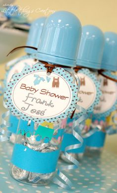 "Photo 1 of 15: Brown and Blue clothes and airplane / Baby Shower/Sip & See ""Brown and Blue Boy Baby Shower"" 