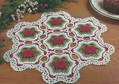crochet square with rose doily | Details about Crochet Christmas Pattern ~ ROSES IN THE SNOW DOILY ...