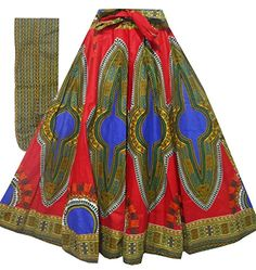Decora Apparel African Women Dashiki Maxi Long Skirts with Pockets Girls Midi Skirt Elastic Waist One Size (Red Blue Thick Fabric Sweep Long) Dashiki Skirt, Ankara Skirt, Elastic Waist Skirt, High Waisted Skirt, African Dashiki, Wrap Around Skirt, Long Maxi Skirts, Skirts With Pockets, African Women