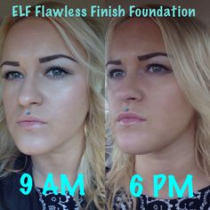 Elf Flawless Finish Foundation: Applied @ 9AM- Medium Coverage with a dewy finish. 6PM- Some foundation wore off and settled into pores/fine lines. Foundation also oxidized throughout the day. Final Thoughts- Okay foundation. Definitely not a must have for me, even with an inexpensive $6 price tag. Have tried better foundations within that same price point.