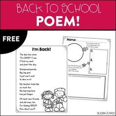 Back to School Poem! Back To School Poem, Welcome Back To School, Beginning Of The School Year, Back To School Activities, New School Year, School Fun, School Ideas, Kindergarten Poetry, Welcome To Kindergarten