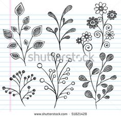 Hand-Drawn Sketchy Notebook Doodles of Leaves, Plants, and Flowers- Vector Illustration on Lined Sketchbook Paper Background - stock vector