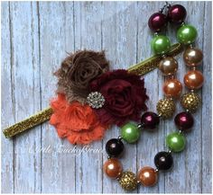 Gold fall necklace and headband set.wine dark orange and brown headband . Fall headband . Fall necklace . by ALittleTouchofGrace on Etsy https://www.etsy.com/listing/479830095/gold-fall-necklace-and-headband-setwine