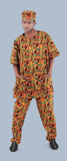 African Kente Pant Set - Mens African Kente Pants and Shirt Set in Orange, Green, & Black.  This traditional African Kente cloth suit is perfect for celebrating Black History Month!  This matching Kente set in a variety of colors including orange, yellow, and blue.  Each one has intricate African patterns throughout the set and shows your love of African culture and fashion!  #africanfashion #africa #african #fashion #mensfashion #mensstyle #style #blackhistorymonth #africanamerican