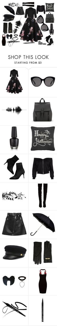 """BLACK magic"" by chyncast on Polyvore featuring Gucci, Rizzy Home, Christian Louboutin, Maje, Henri Bendel, Moschino, Sans Souci and NYX"