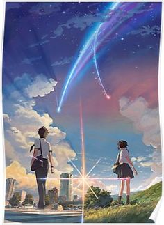'Kimi No Na Wa // Your Name anime movie ' Poster by SkyStore Watch Your Name, Your Name Movie, Your Name Anime, 5 Anime, Fanarts Anime, Anime Art, Free Anime, Female Anime, Anime Demon