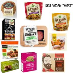 Moving on to the Best of… series I thought I would focus on a big one – vegan meats! There are plenty of options out there and I feel like I've tried most (I'm sure I haven't but…). I compiled our favorites list and these can be found at most grocery sto Vegan Foods, Vegan Dishes, Vegan Vegetarian, Vegetarian Recipes, Vegan Meals, Vegan Food Brands, What Foods Are Vegan, Vegan Fast Food Options, Whole Foods Vegan