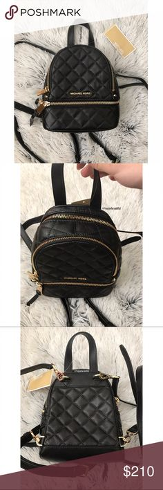NWT Michael Kors Rhea Mini Messenger Backpack New with tags Michael Kors extra small mini messenger backpack • leather material • convertible for use as a backpack or Crossbody • adjustable straps • black with gold hardware • retailed for $258 • DIMENSIONS:7.25 inches across x 5.75 inches across • 4th photo is for size reference • NO TRADES‼️ • Michael Kors Bags Backpacks