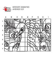 Peacock Mystery Grid Drawing Worksheet for... by MessyArtTeacher | Teachers Pay Teachers Mazes For Kids Printable, Kids Math Worksheets, Printable Worksheets, Math For Kids, Activities For Kids, Nancy Miller, Grid Puzzles, Messy Art, Drawing Sheet