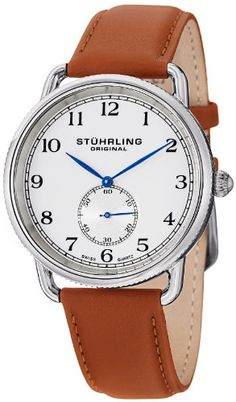 Stuhrling Original Men's 207.01 Classic Cuvette Decor Swiss Quartz Brown Leather Strap Watch