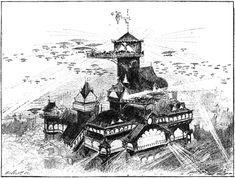 """Albert Robida, « Grande soirée à l'hôtel Lorris », in : """"Le vingtième siècle : la vie électrique"""", Paris, La Librairie Illustrée, 1892"""