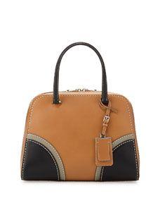 Prada Vachetta Satchel Bag, Natural/Black