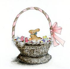 This Easter basket is filled with brightly-colored eggs, pink chicks, jewel-like jelly beans and a big chocolate bunny. What could be sweeter? With this simple tutorial, you can dream up your perfect basket, then bring it to life with watercolor. Sketch Painting, Watercolor Paintings, Chocolate Rabbit, Big Chocolate, Filled Easter Baskets, Sketches Tutorial, Cross Hatching, Bird Drawings, Art For Art Sake